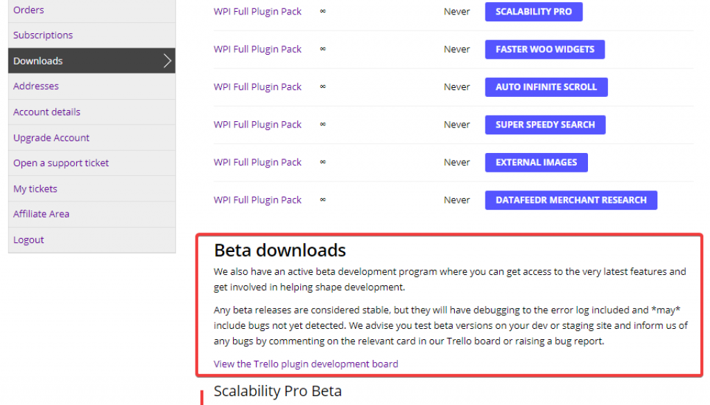 Beta downloads and historic plugin versions now in your account